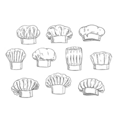 Chef hat cook cap and toque sketches vector