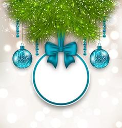 Christmas gift card with glass balls - vector image
