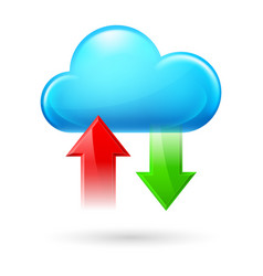 cloud with two arrows on white background vector image