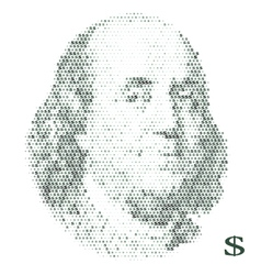 franklin portrait with dollar simbols vector image vector image