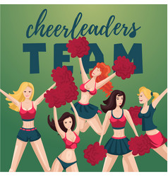 Girl cheerleaders people cartoon character team vector