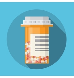 Glass container with medical pills capsules vector