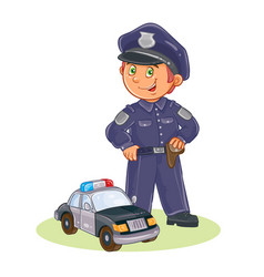 Icon of small child policeman and his car vector