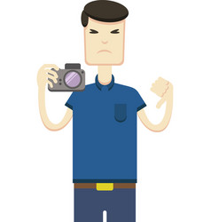 Image of an asian with a camera vector
