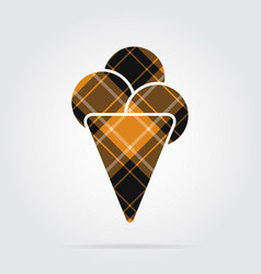 Orange black tartan icon - ice cream and scoops vector