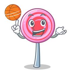 plying basketball cute lollipop character cartoon vector image vector image