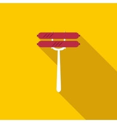 Sausage on fork icon flat style vector image
