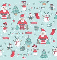 Seamless pattern cute christmas children vector
