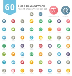 Set of Round Long Shadow SEO and Development icons vector image vector image