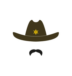 sheriff head cowboy icon vector image