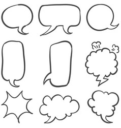 Text balloon style hand draw set vector