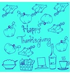 Thanksgiving doodles pumpkin chicken vector