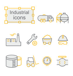 Thin line icons set industrial vector