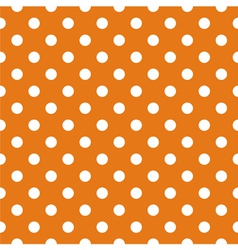 Tile pattern white polka dots on orange background vector image