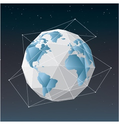 White earth globe geometrical background vector image