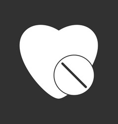 White icon on black background heart with medical vector