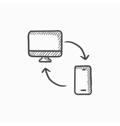 Synchronization computer with phone sketch icon vector