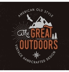 Great outdoors badge and outdoors activity vector