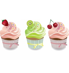 Cupcake with fruits toppings and cream vector