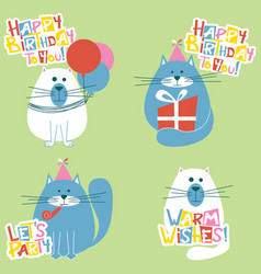 Happy birthday cats set vector