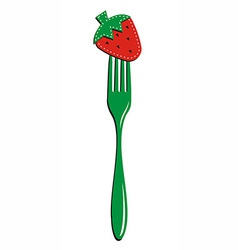 Fork and strawberry background vector