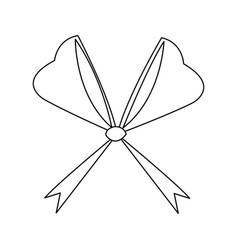 Bow ribbon decoration xmas celebration outline vector