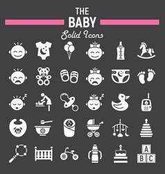 Baby solid icon set kid symbols collection vector
