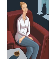 Young woman sitting in armchair with cup of coffee vector image