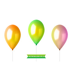 3d realistic colorful balloon set holiday vector