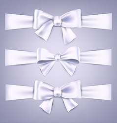 Satin white ribbons gift bows vector