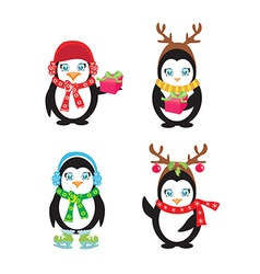 Set of cute penguins vector
