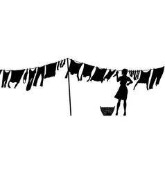 Woman hanging washing vector