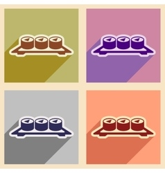 Flat with shadow concept sushi rolls on plate vector