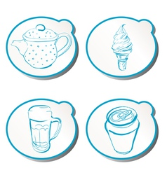 stylish doodle icons vector image