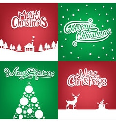 Four Christmas card collection for christmas card1 vector image