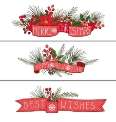 Christmasnew year horisontal banners vector