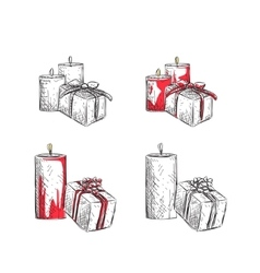 Gift boxes sketch vector