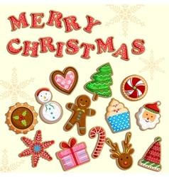 Christmas holiday cookies vector