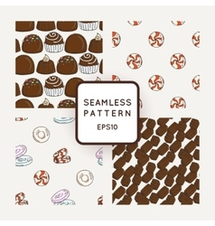 Set of candy bows and muffins seamless vector