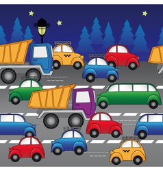 Cars on road vector