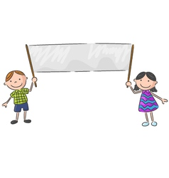 Cartoon little kid holding banner vector image
