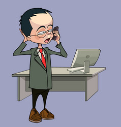 cartoon man talking on the phone standing vector image vector image