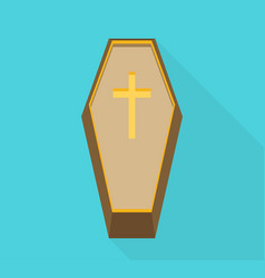 Coffin cross halloween flat vector