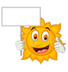 cute sun cartoon holding blank sign vector image vector image