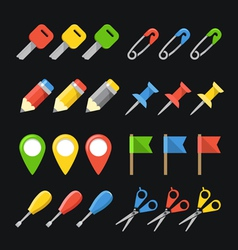 Different office stuff web color icons collection vector