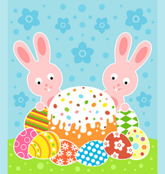 Easter background card with cake and rabbits vector