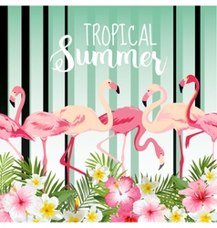 Flamingo bird background retro pattern tropical vector
