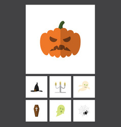 flat icon halloween set of candlestick ghost vector image vector image