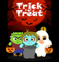 Halloween background with children vector