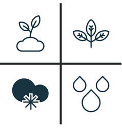 Harmony icons set collection of sprout water vector